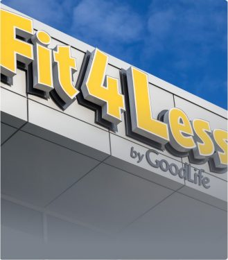Fit4Less sign on the outside of a club