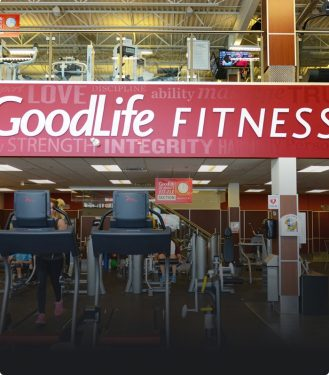 Interior of a GoodLife Fitness club with cardio machines