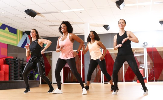 Four women in a dance class