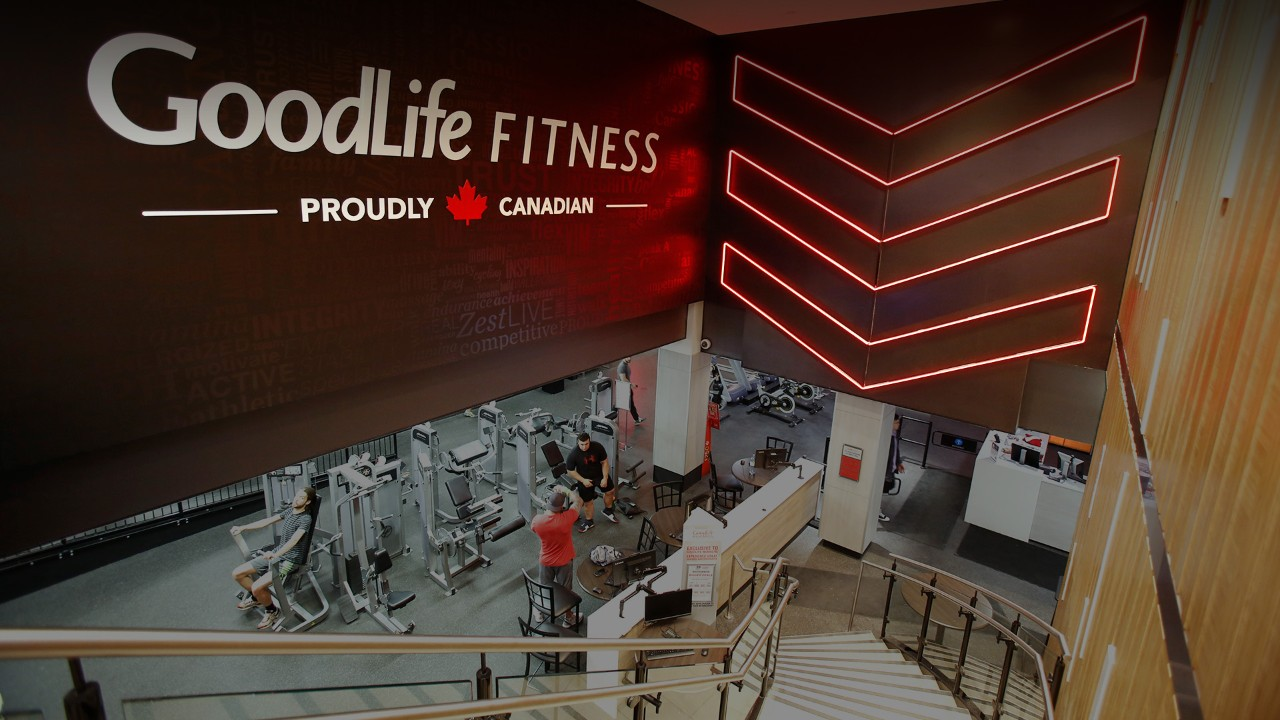 GoodLife club interior with logo on wall