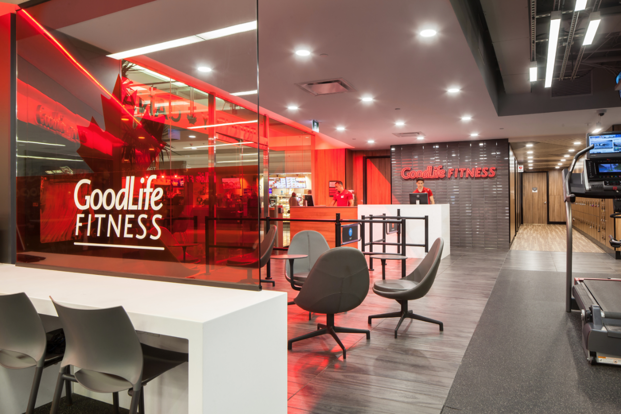 Interior of a GoodLife Fitness Club