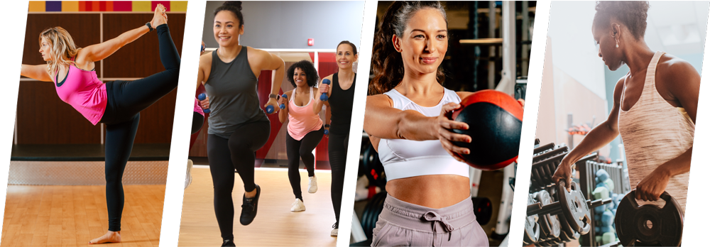 Left to right,  a woman in pink tank top in a fitness class, a woman doing chest press with weighted ball, a woman in a fitness class with small hand weights, a GoodLife Fitness trainer correcting client's bicep curl form