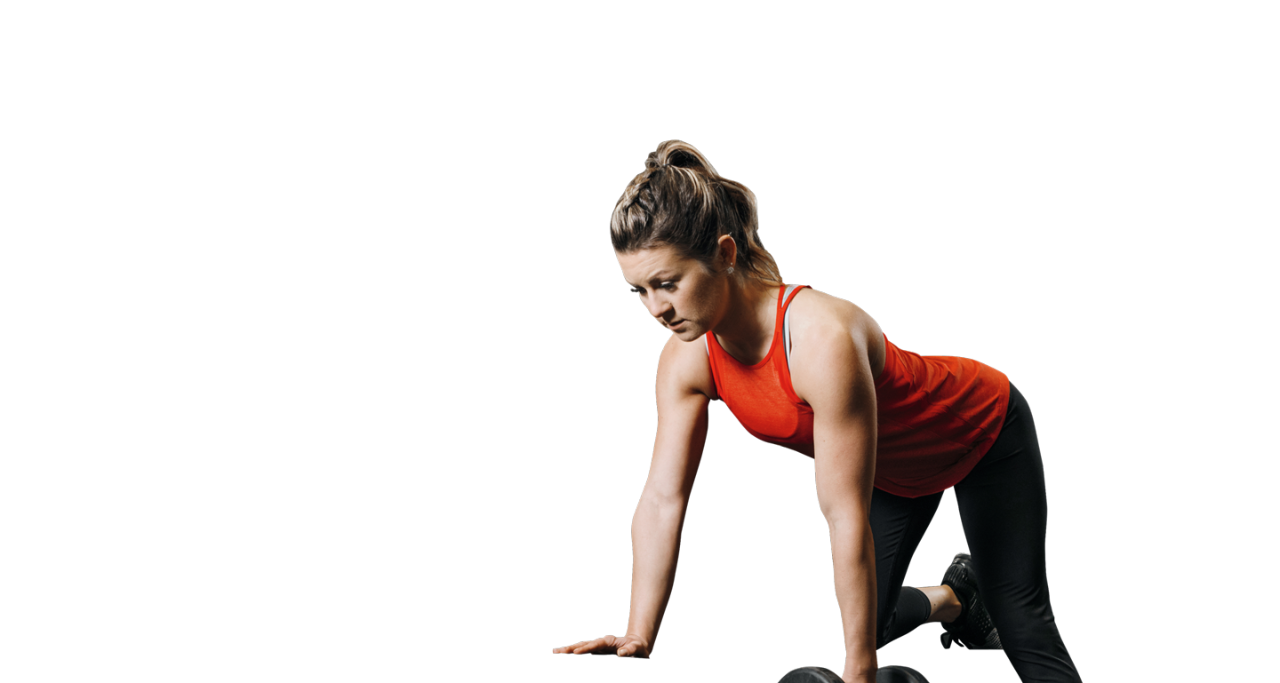 Woman doing single-arm row with right knee up on a bench