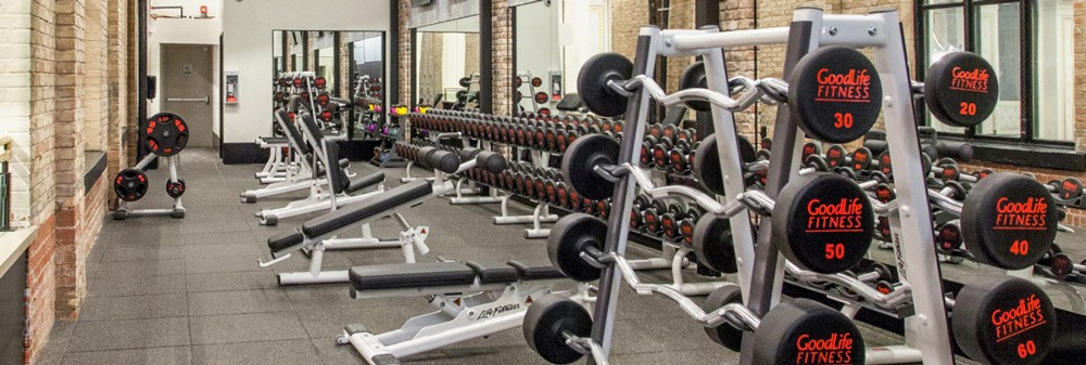 Weightlifting area in a GoodLife gym with barbells, dumbbells and lifting machines.
