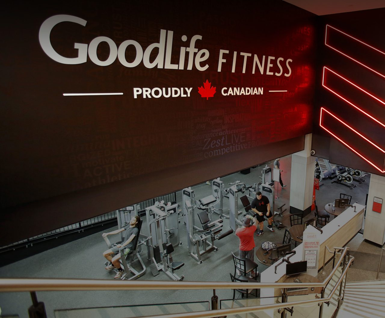 Aerial shot of a GoodLife club interior area with machine and three men working out